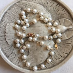 Jewelry - 14k Gold Dainty Pearl Link 16 in Choker Necklace
